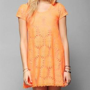 """Kimchi Blue"" Neon Orange Lace Dress"